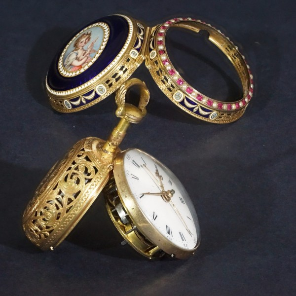1770 vintage pocket watch with chime and enamel