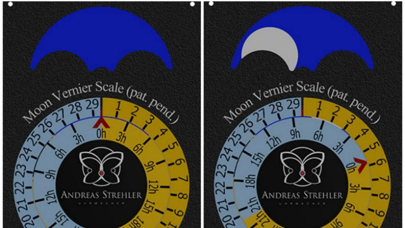 Lune Exacte vernier scale by Andreas Strehler Swiss watchmaker